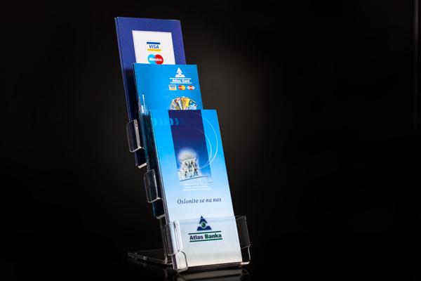 Stoni držač za flajere pleksliglas klirit F3